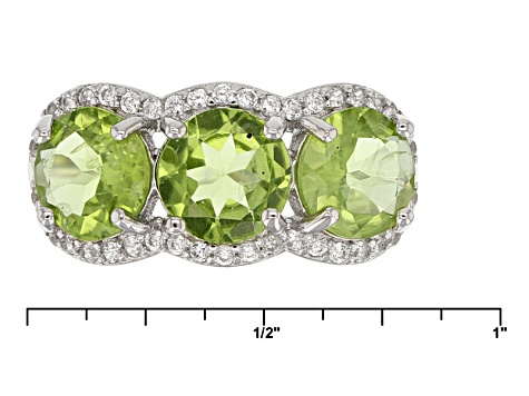 Green Peridot Sterling Silver Ring 4.25ctw
