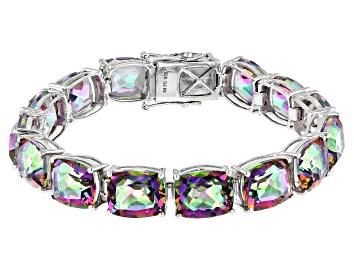 Picture of Multicolor Quartz Rhodium Over Sterling Silver Bracelet 66.98ctw