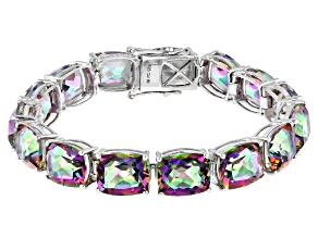 Multicolor Quartz Rhodium Over Sterling Silver Bracelet 66.98ctw