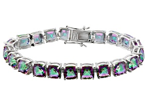 Multicolor Quartz Rhodium Over Sterling Silver Bracelet 40.00ctw