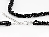 Black Spinel Sterling Silver Torsade Necklace Approximately 50.00ctw