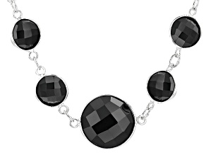 Black Spinel Sterling Silver Necklace 64.00ctw