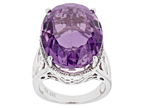 Lavender Amethyst Rhodium Over Silver Ring 22.36ctw