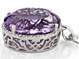 Lavender Amethyst Rhodium Over Silver Pendant With Chain 22.12ctw