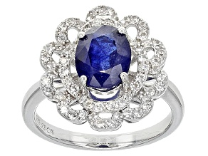 Mahaleo Sapphire And White Zircon Sterling Silver Ring 3.60ctw