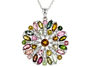 Multi-Tourmaline Rhodium Over Sterling Silver Pendant 6.88ctw