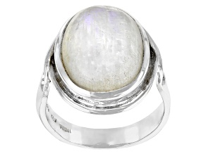 White Rainbow Moonstone Sterling Silver Ring 16x12mm
