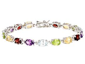 Multi-Gem Sterling Silver Bracelet 14.70ctw