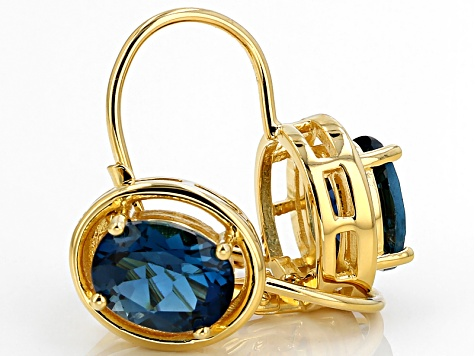 London Blue Topaz 18k Yellow Gold Over Sterling Silver Earrings 4 70ctw