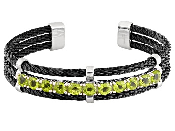 Picture of Green Peridot Stainless Steel Cuff Bracelet 5.00ctw