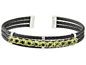 Green Peridot Sterling Silver Cuff Bracelet 5.00ctw