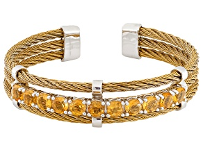 Yellow Citrine Gold Tone Stainless Steel Cuff Bracelet 4.00ctw