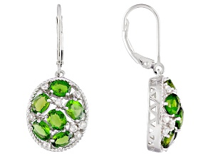 Green Chrome Diopside Rhodium Over Sterling Silver Earrings 4.50ctw
