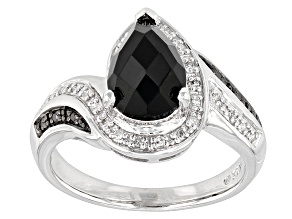Black Onyx Sterling Silver Ring 1.43ctw