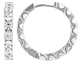 White Zircon Sterling Silver inside/Outside Hoop Earrings 6.50ctw