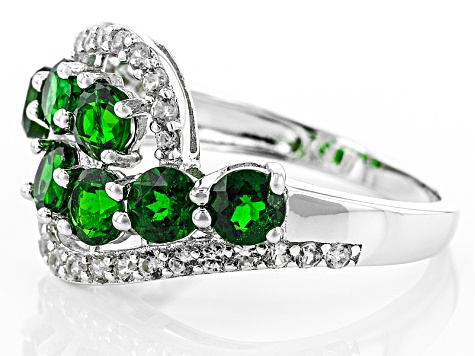 Green Chrome Diopside Sterling Silver Ring 3.23ctw