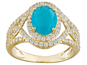 Blue Ethiopian Opal 10k Yellow Gold Ring 2.40ctw