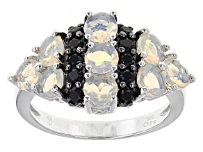 Ethiopian Opal And Black Spinel Sterling Silver Ring 1.77ctw