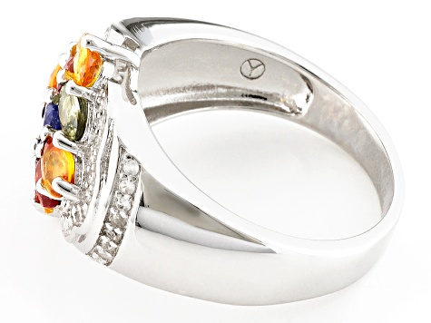 Multi-Color Sapphire And White Zircon Sterling Silver Ring 2.26ctw