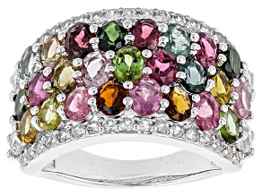 Multi-Color Tourmaline And White Zircon Sterling Silver Ring 4.50ctw