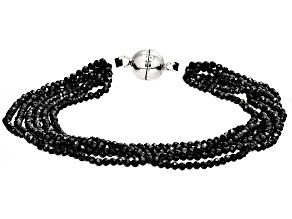 Black Spinel Rhodium Over Sterling Silver Bracelet 30.00ctw