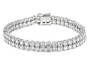 White Zircon Rhodium Over Sterling Silver Bracelet 24.00ctw