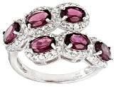 Raspberry Color Rhodolite Sterling Silver Ring 4.00ctw