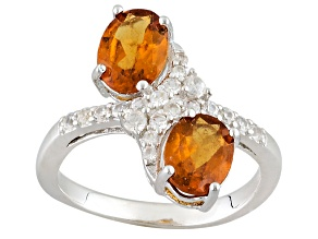 Orange Hessonite Sterling Silver Ring 2.95ctw