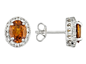 Orange Hessonite Sterling Silver Stud Earrings 3.25ctw