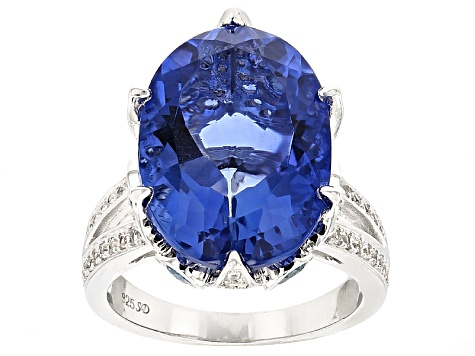 Blue Color Change Fluorite Sterling Silver Ring 15.85ctw