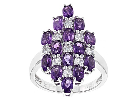Purple Amethyst Sterling Silver Cluster Ring 4.05ctw