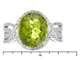 Green Peridot Sterling Silver Ring 6.86ctw