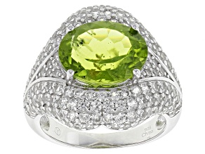 Green Peridot Sterling Silver Ring 9.80ctw
