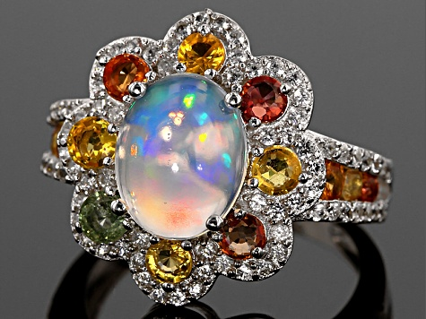 Ethiopian Opal Sterling Silver Ring 3.19ctw