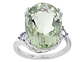 Green Prasiolite Sterling Silver Ring 12.35ctw