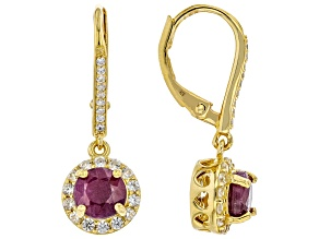 Red Indian Ruby 18k Yellow Gold Over Sterling Silver Earrings 2.20ctw