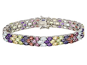 Multi Color Sterling Silver Bracelet 22.80ctw