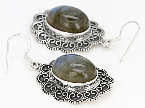 Gray Labradorite Sterling Silver Dangle Earrings