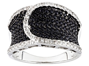 Black Spinel Sterling Silver Ring 1.70ctw