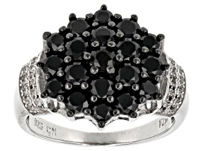 Black Spinel Sterling Silver Ring 2.49ctw
