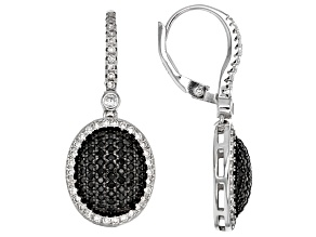 Black Spinel Sterling Silver Earrings 1.38ctw
