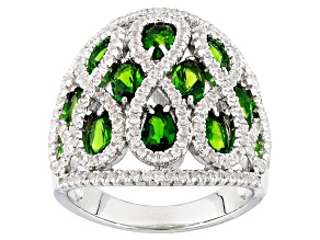 Green Chrome Diopside And White Zircon Sterling Silver Ring 3.74ctw