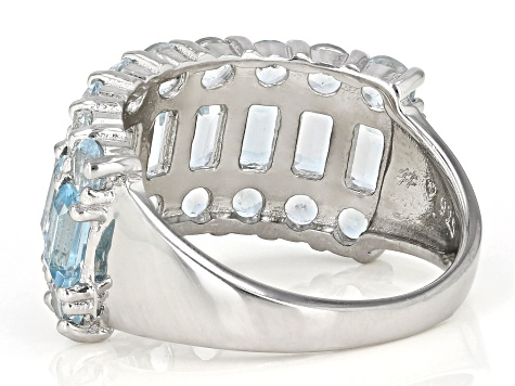 Blue Topaz Sterling Silver Band Ring 6.48ctw