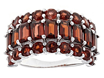 Picture of Red Garnet Rhodium Over Sterling Silver Band Ring 6.12ctw