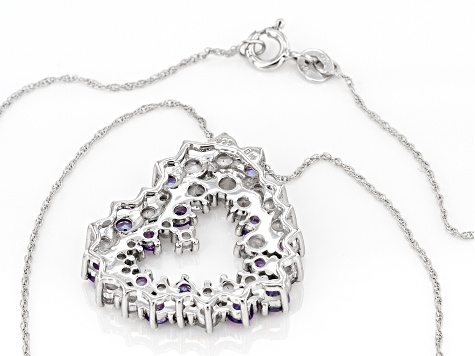 Blue Tanzanite Rhodium Over Sterling Silver Heart Pendant With Chain 4.00ctw