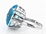 Blue Topaz Rhodium Over Sterling Silver Ring 18.00ct