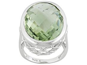 Green Prasiolite Sterling Silver Ring 14.00ctw