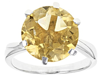 Picture of Yellow Citrine Rhodium Over Sterling Silver Ring 6.00ct