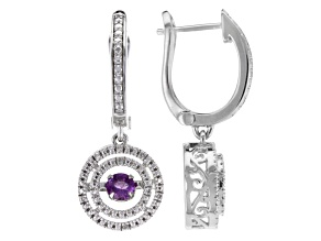 Purple Dancing Amethyst 10k White Gold Earrings .25ctw