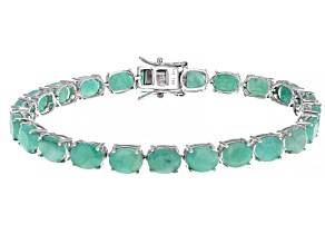 Green Emerald Sterling Silver Bracelet 24.27ctw